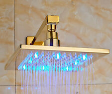 """Gold Polished LED Light 8"""" Square Rain Shower Head with Wall Mounted Shower Arm"""