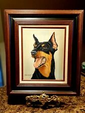 Doberman Hand Pained Portrait Oil On Canvas Artist Signed & Gorgeous
