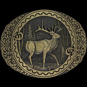 Brass Elk Deer Stag Artwork Hunter Hunting Gift Western NOS Vintage Belt Buckle