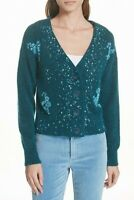 Lewit Teal Green Women's Beaded V-Neck Cardigan Sweater Sz. XS 149314