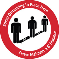 SOCIAL DISTANCING IS IN PLACE - PLEASE MAINTAIN 6 FT | Adhesive Vinyl Sign Decal