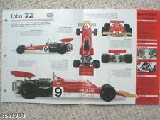 LOTUS 72 F1 Formula 1 Racing SPEC SHEET/Brochure:1970,