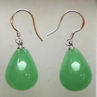 pretty real lighte green drop jade earrings 12x16mm 925 silver hook