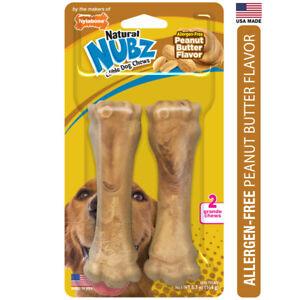 Nylabone Nubz Natural Dog Treats Allergen-Free Peanut Butter Flavor 2Count Large