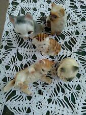 Lot 5 Cat Kitten Figurines Lefton / Atomic ? China Ceramic Porcelain