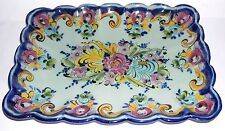 Studio Pottery Vintage Alcobaca Portugal - Oblong Hand Decorated Dish signed PL.