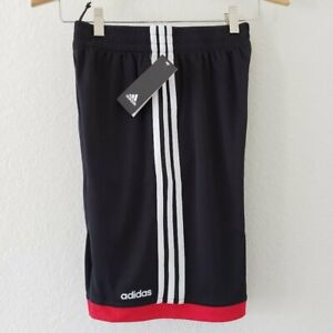 NWT - Adidas Black and Red Youth Shorts - Size M (10/12) 100% polyester
