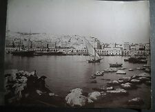 antique old big  PHOTO LEROUX PORT SHIPS BOATS FISHING AFRICA  ALGERIA ALGER