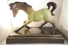 Vintage Frank Engle Studio Newburgh IN Art Pottery Green Horse Lamp
