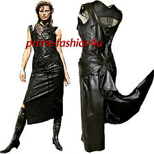 John Galliano Christian Dior Black  Leather Lace up Asymmetrical Dress & Top Set