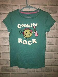 GAPKIDS GAP KIDS GIRLS SMALL 6-7 6 7 TEE SHIRT COOKIES ROCK T TOP GUITAR MUSIC