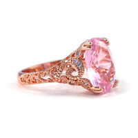 Women Pink Sapphire Rose Gold Filled Ring Wedding Engagement Jewelry Gift