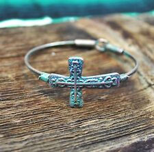 New Western Patina Cross Bracelet Cowgirl Bling Country Chic Rodeo Gypsy
