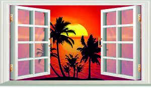 3D OPEN WINDOW TROPICAL SUNSET WALL ART STICKER  RV CAMPER DECAL CARAVAN 3 SIZ