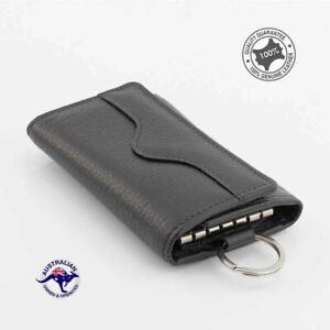 Genuine Full Grain Leather Key Holder Case 6 Keys Men Wallet Key Rings Black