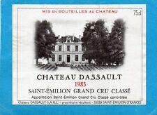 SAINT EMILION GCC ETIQUETTE CHATEAU DASSAULT 1983 75 CL   §18/04/17§