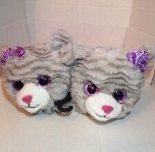 PlusH Kitty Cat Soft Fur Girls Slippers Shoes Gray Purple Big Eyes Small 11-12