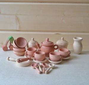 Dishes set, Wooden Toy Dishes, Toddler Tea Set, Wooden play kitchen 22pcs
