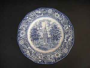 """Staffordshire Liberty Blue Independence Hall  10"""" Dinner plate Liberty Blue"""