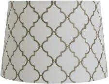 Drum Lamp Shade White and Gray Embroidery Quatrefoil Design Fabric 9 X 13 Inch