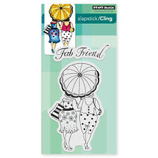 New Penny Black FAB FRIEND Slapstick Cling Rubber Stamp Girl Women Fancy Forever