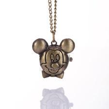 Fashion Mouse Design Quartz Pocket Watch Pendant Necklace Chain Xmas Gift SK357