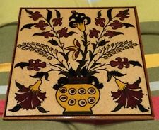 "Iznik? Floral 5 7/8"" Sq. Barbour Ceramic Tile Art Trivet Wall Decor Wine Taupe"