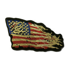 "4½"" Don't Tread on Me Tattered American US Flag Sew or Iron on Patch Biker Patch"