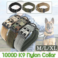 1000D Nylon Military Tactical Adjustable Dog Training Collar Leash +Metal Buckle