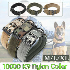 1000D Nylon Military Tactical Adjustable Dog Training Collar Leash +Metal