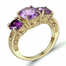 Size 8 Purple Amethyst Engagement Gift Ring Wedding Band Gold Rhodium Plated