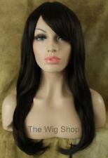 Long Straight Medium Brown 4 Wig Bangs Skin Top Kanekalon WA