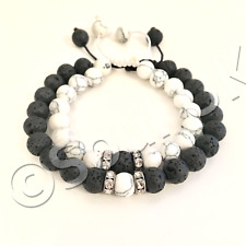 His & Hers White Howlite & Black Lava Stone Crystal Couple Yin & Yang Bracelet