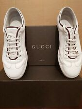 Gucci Barcelona GG SNKR White Sneaker Trainers Size 9 Leather Flat Lace Up