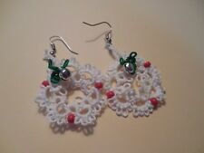 1 Set Tatted Wreath White Red Earrings 1 inch Christmas Dove Country Tatting