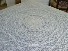 """New listing Antique French Normandy Lace Tambour Tablecloth Coverlet Bedspread 99"""" x 82"""""""