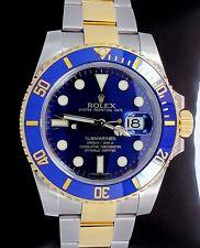 ROLEX Submariner 116613 LB Two Tone 18K Yellow Gold & Steel Blue Ceramic *MINT*