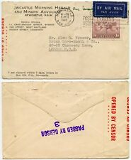 AUSTRALIA TAPE AIRMAIL PRINTED ENV 1/6 EXPRESS MESSENGER SLOGAN WW2 CENSORED