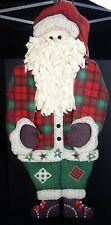 Quilted Hanging Santa Claus Wall Hanging 41 Primitive Lodge Farm Country Holiday