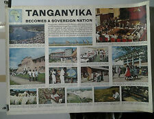 AFFICHE ANCIENNE TANGANYIKA AFRIQUE BECOMES A SOVEREIGN NATION PHOTO 1961