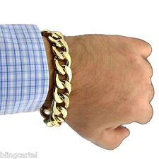 "Alloy 16mm Wide Cuban Link Big Gold Finish Large Thick Men's 8.5"" Curb Bracelet"