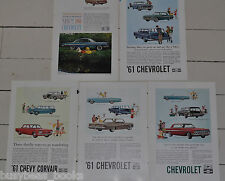 1961 CHEVROLET advertisements x5, CHEVY Impala Biscayne Corvair Bel Air wagons