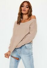 Missguided Off The Shoulder Jumper Beige Size Small Medium