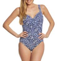 Miraclesuit Womens Blue Majorca Sanibel One Piece Swimsuit Sz 14 6703