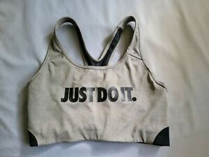 Women's Nike Dri-Fit Sports Bra Grey Gray Size Medium EUC Just Do It Front