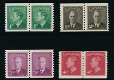 CANADA 297-300 MINT F-VF NH, COIL PAIRS PERF 9 1/2, KGVI