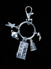 Doctor Who inspired charm keyring - handmade