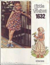 LITTLE VOGUE 1632 Girls Dress Bloomers Scarf Sewing Pattern UC/FF Sz 6
