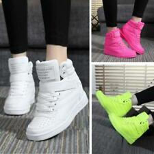 Fashion Women Sneakers Sports Hidden Wedge Heel High Top Shoes Comfortable JA