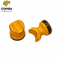 2 x Cohiba Yellow Ceramic Cigar Cigarette Holder Showing Stand Ashtray